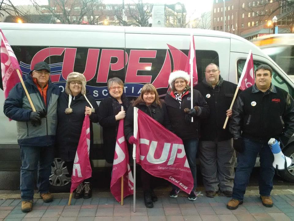 CUPE Nova Scotia members with van