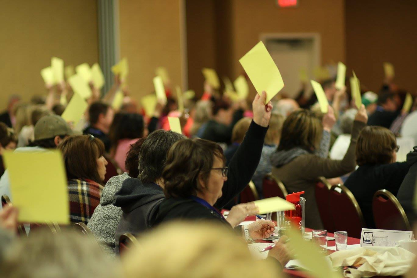 Members voting at the CUPE NS convention
