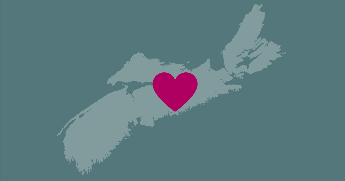 Illustration: map of Nova Scotia with a heart