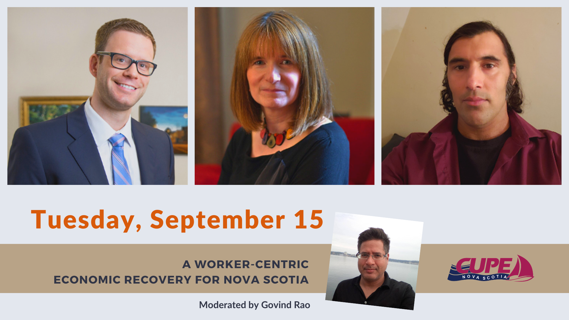 web banner - Webinar: A Worker-Centric Economic Recovery for Nova Scotia. Photos of three panelists and the moderator. Date: Tuesday, September 15