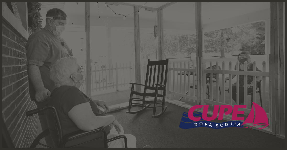 Web banner: black and white photo of senior in wheelchair accompanied by her caregiver, visiting with a family member