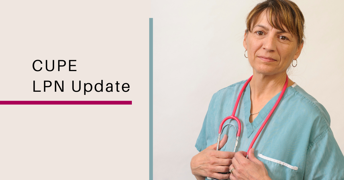 Web banner: CUPE LPN Update, with photo of a female nurse wearing scrubs and a stethoscope