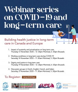 Webinar Series: COVID19 and long-term care - building health justice in Canada and in Europe