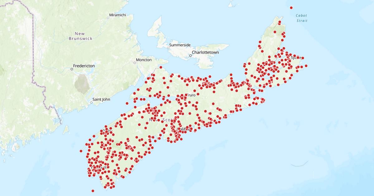 Map of Nova Scotia from the Mi'kmaw Place Names Digital Atlas