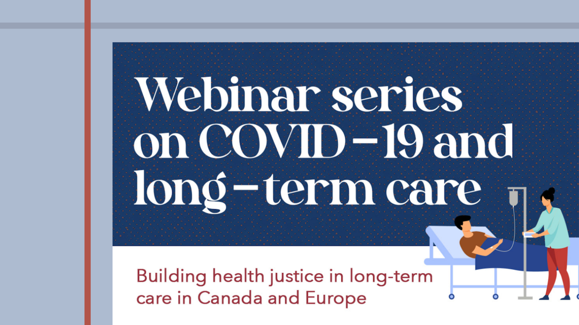 Web banner: Webinar Series: COVID19 and long-term care