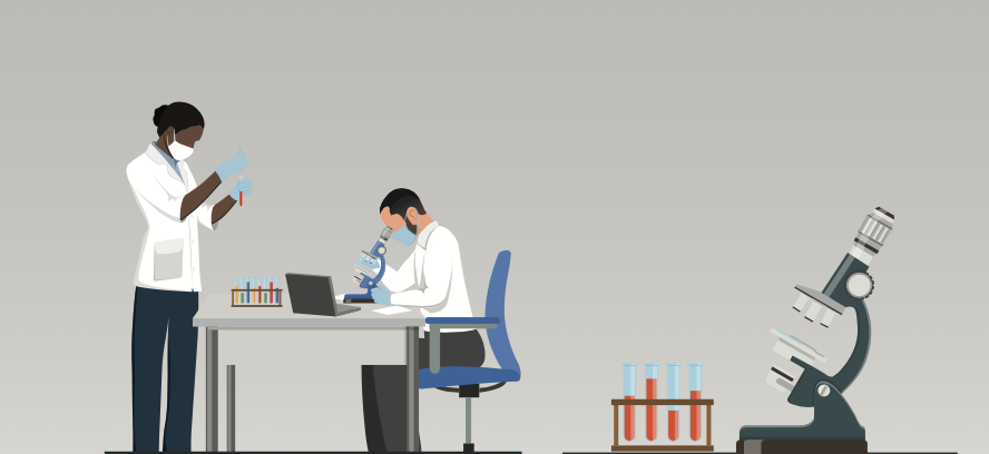 Illustration: vaccine development. Female and male wearing lab coats conducting lab testing