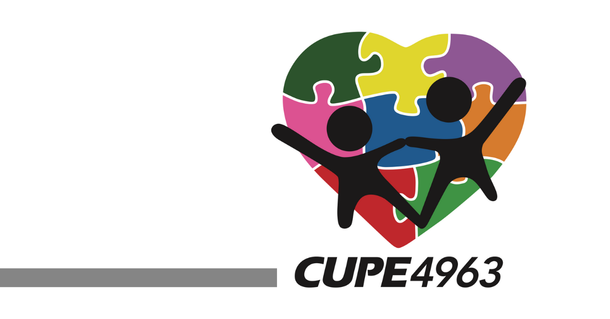 Logo: CUPE 4963. Two stick figure people, over a multi-colour heart that looks like a jigsaw puzzle