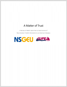 Report cover: A Matter of Trust, with NSGEU and CUPE logos