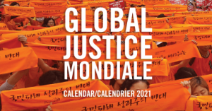 web banner: Global Justice Mondiale - Calendar/Calendrier 2021