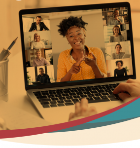 Web banner for workshops. Virtual meeting as seen on a laptop.