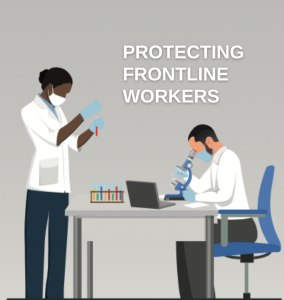Web banner. Text: Protecting frontline workers. Illustration: two people working in a medical lab.