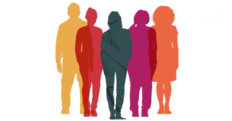 Image shadow figures of group of women