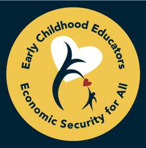 Logo. Text: Early Childhood Educators Economic Security For All. Image: blue, yellow and white colours with a heart/tree logo