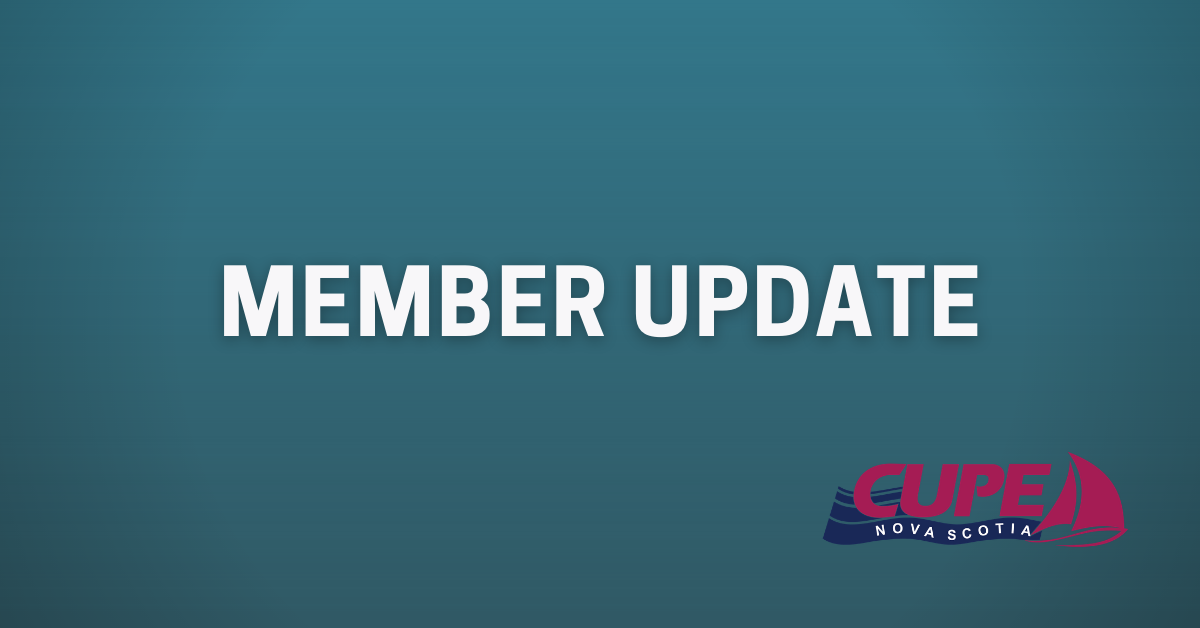 Web banner. Text: Member Update. Image: CUPE NS logo