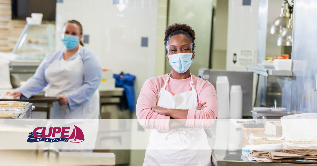 Web banner. Photo: 2 school cafeteria workers. Image: CUPE NS logo