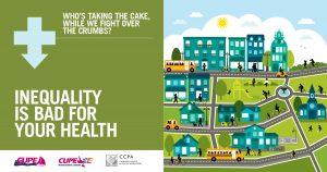 Webinar promo. Text: Inequality is bad for your health. Who's taking the cake, while we fight over the crumbs? Image: illustration of a community.