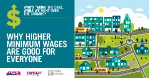 Webinar promo. Text: Why higher minimum wages are good for everyone. Who's taking the cake, while we fight over the crumbs? Image: illustration of a community.