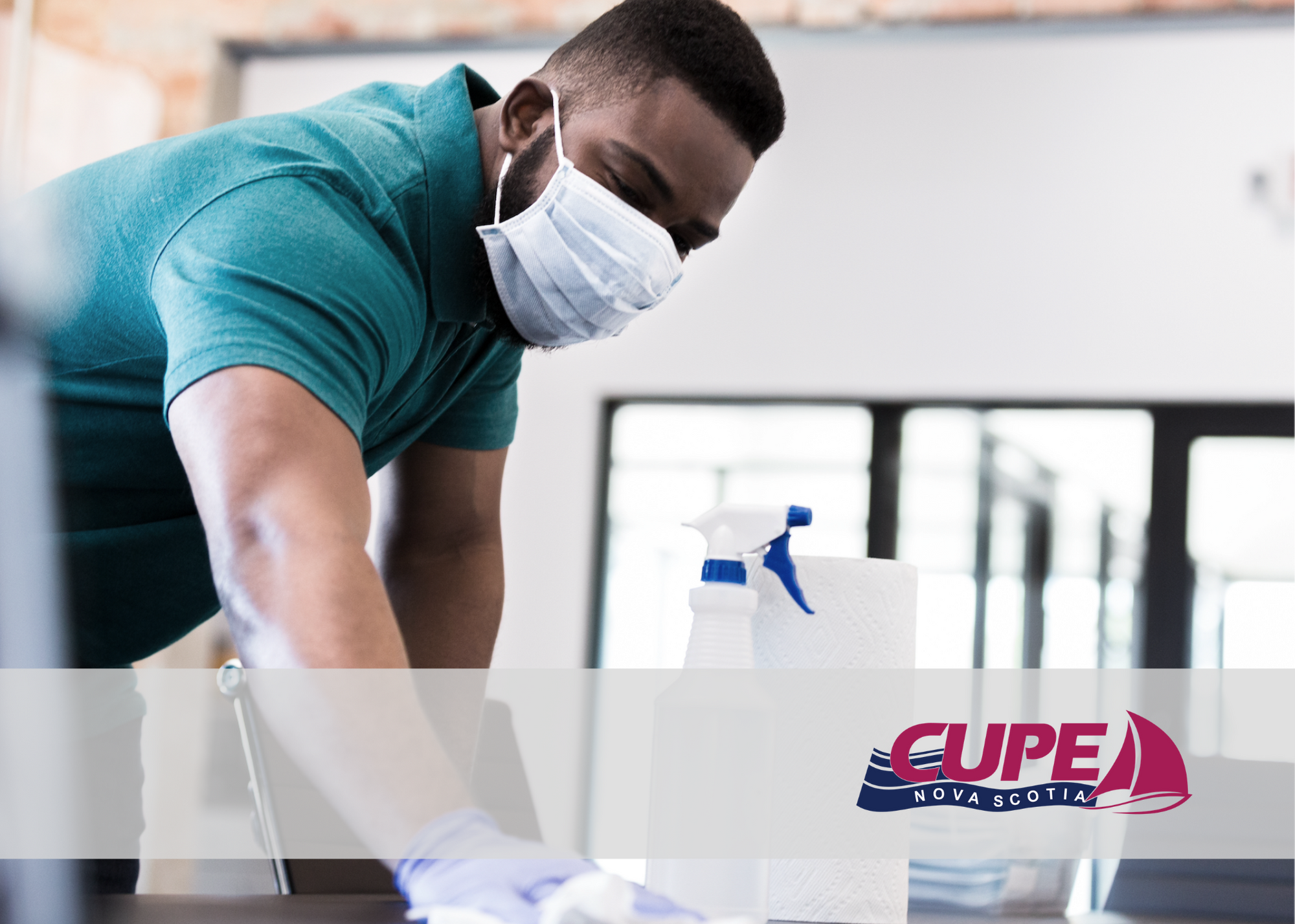 Web banner. Worker cleaning a table. CUPE NS logo.