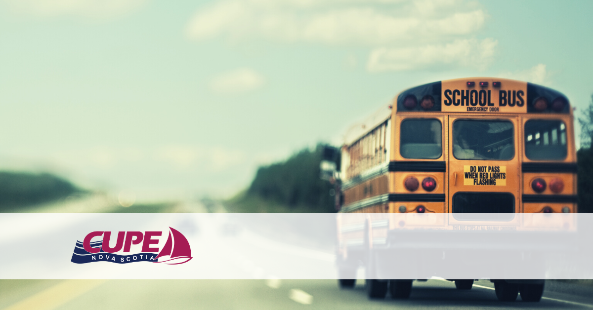 Web banner. No text. Image: school bus on a highway, and the CUPE NS logo