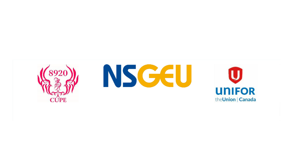 logos CUPE 8920 NSGEU Unifor, on a white background