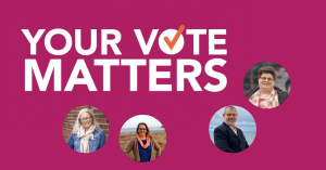 Web banner. Text: Your vote matters. Image check mark with photos of four CUPE member-candidates.