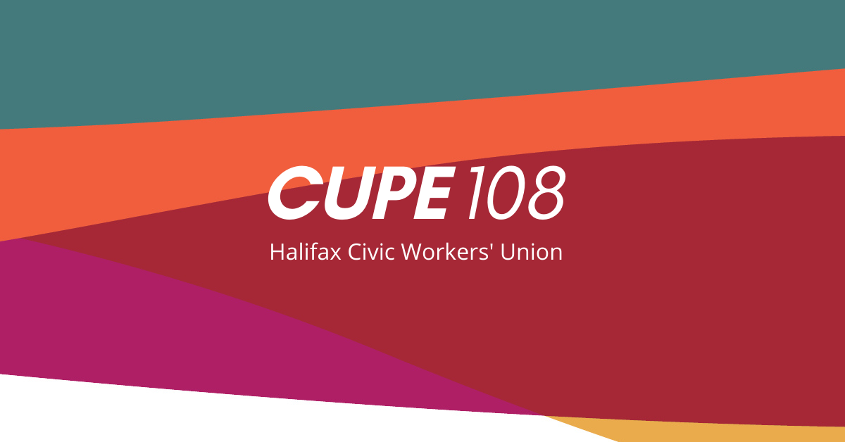 Web banner. Text: CUPE 108 Halifax Civic Workers' Union