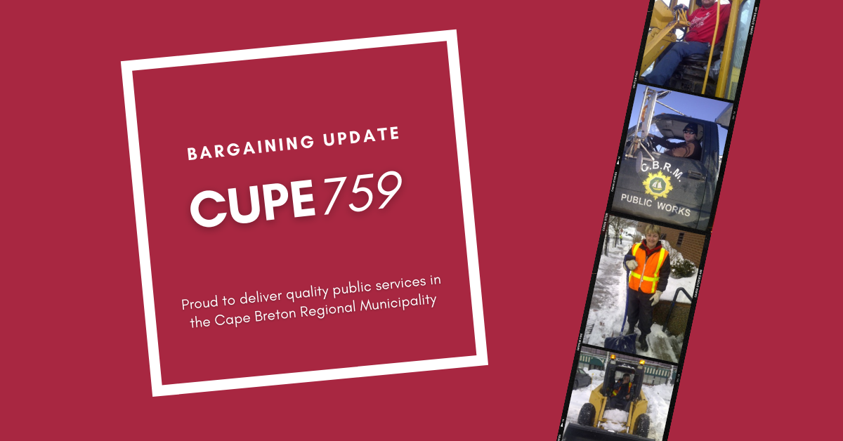 Web banner. Text: Bargaining update, CUPE 759, Proud to deliver quality public services in the Cape Breton Regional Municipality. Images: photo strip with four photos of members on the job (heavy equipment operator, driving a truck with CBRM written on the side, snow shovelling, and driving a snow plow on a sidewalk).