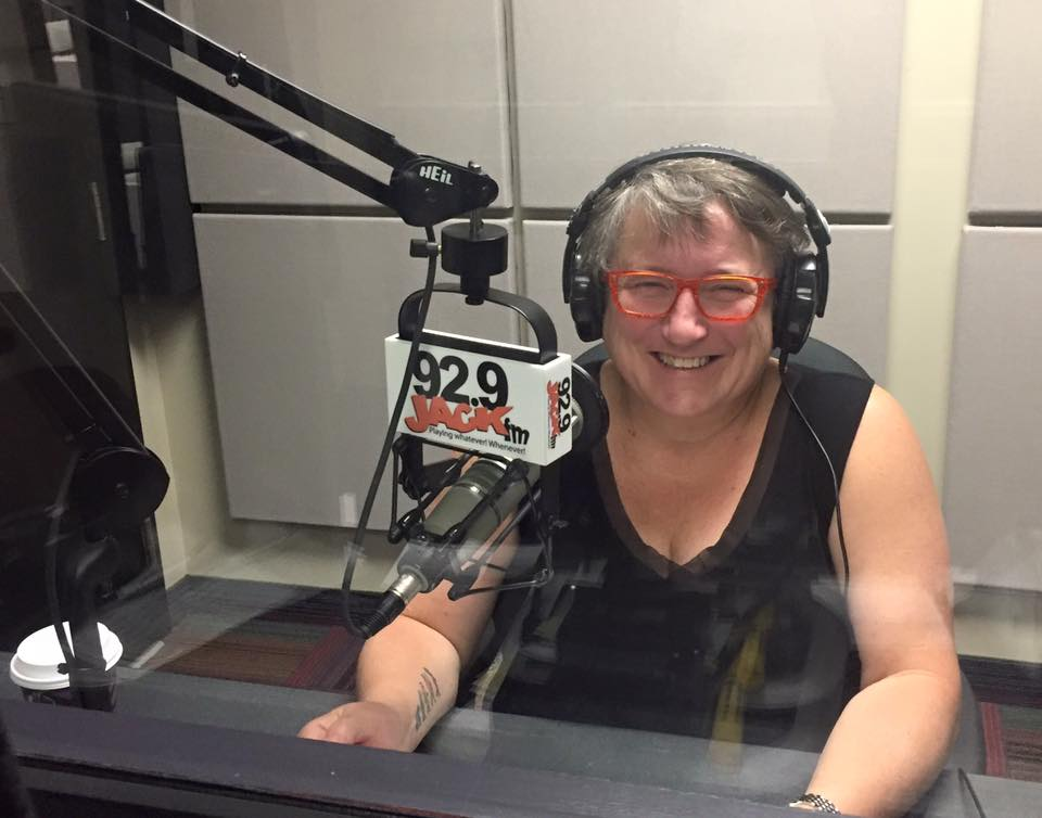 Nan McFadgen recording the Labour Day message from CUPE Nova Scotia